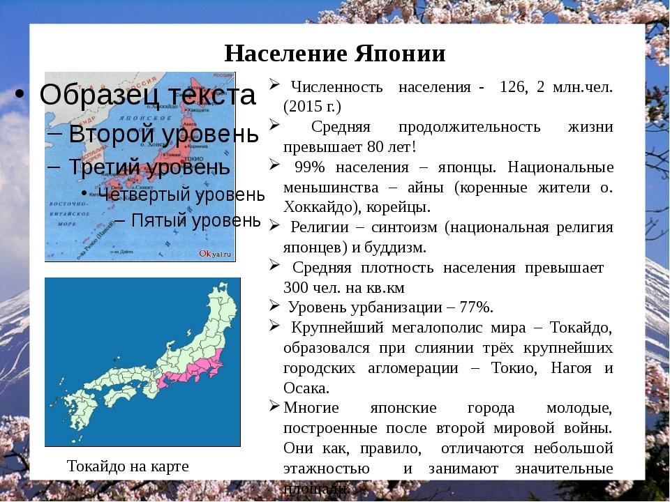 Население Японии Численность населения - 126, 2 млн.чел. (2015 г.) Средняя пр...