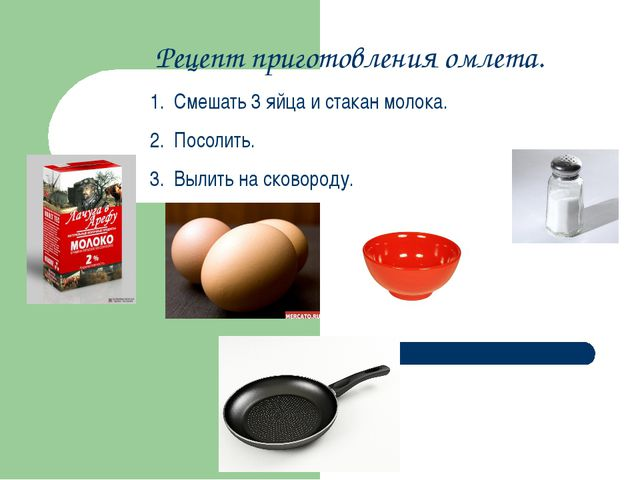 Рецепт приготовления омлета. Смешать 3 яйца и стакан молока. Посолить. Вылить...