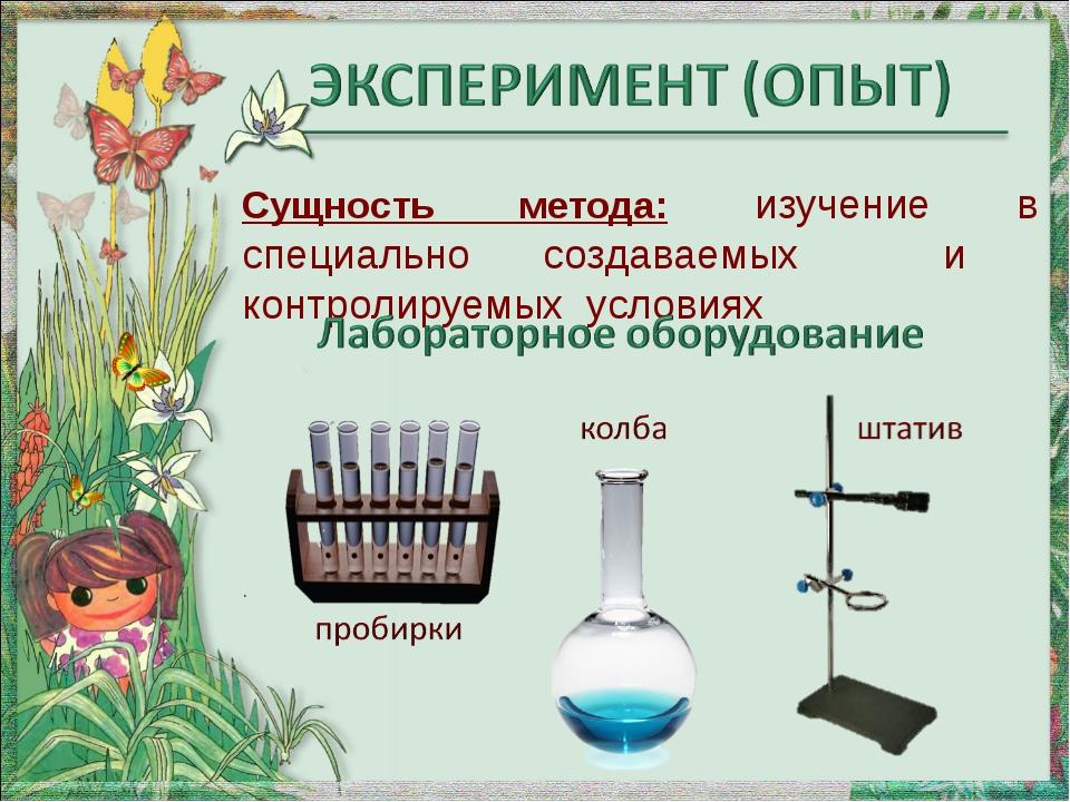 Сущность метода: изучение в специально создаваемых и контролируемых условиях