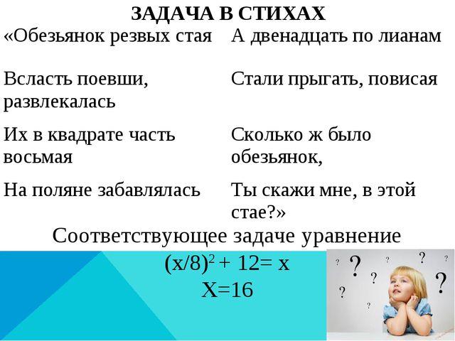 ЗАДАЧА В СТИХАХ Соответствующее задаче уравнение (x/8)2 + 12= x Х=16 «Обезьян...