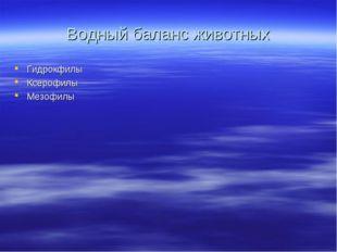 Водный баланс животных Гидрокфилы Ксерофилы Мезофилы