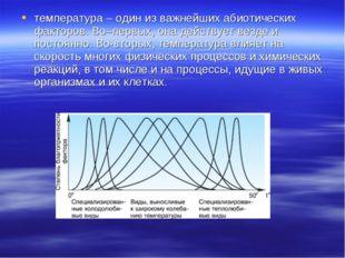 температура – один из важнейших абиотических факторов. Во–первых, она действу