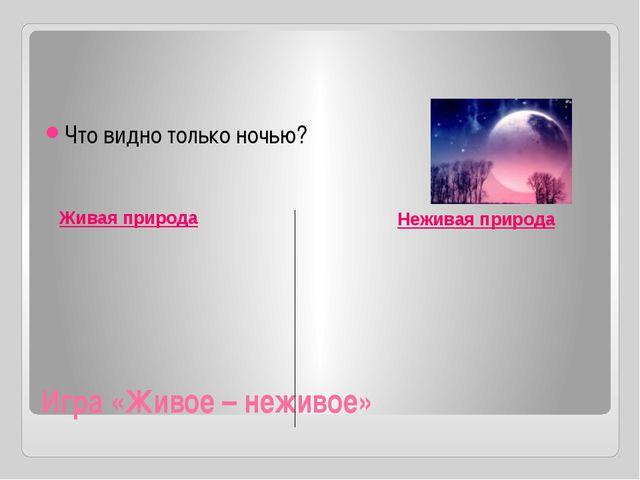 Игра «Живое – неживое» Что видно только ночью? Живая природа Неживая природа...