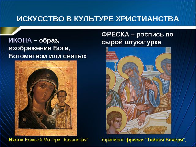 ИСКУССТВО В КУЛЬТУРЕ ХРИСТИАНСТВА ИКОНА – образ, изображение Бога, Богоматери...