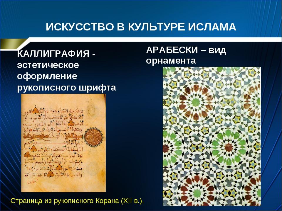 ИСКУССТВО В КУЛЬТУРЕ ИСЛАМА КАЛЛИГРАФИЯ - эстетическое оформление рукописного...