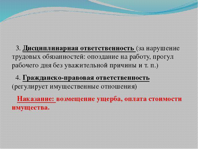 3. Дисциплинарная ответственность (за нарушение трудовых обязанностей: опозд...