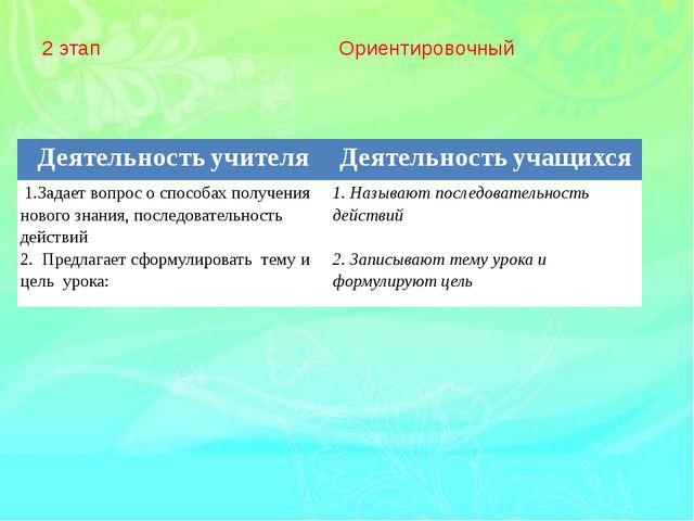2 этап Ориентировочный Деятельностьучителя Деятельностьучащихся 1.Задаетвопро...
