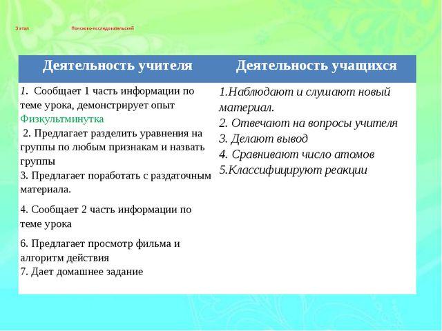 3 этап Поисково-исследовательский Деятельность учителя Деятельность учащихся...
