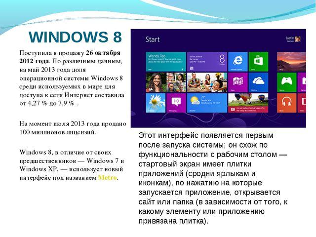 WINDOWS 8 Поступила в продажу 26 октября 2012 года. По различным данным, на м...