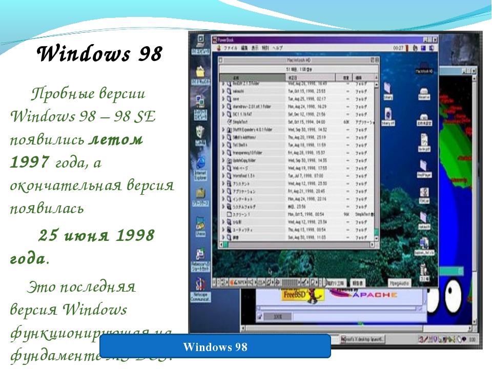 Windows 98 Пробные версии Windows 98 – 98 SE появились летом 1997 года, а око...