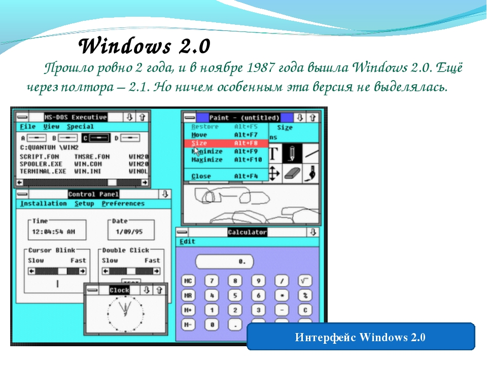 Windows 2.0 Прошло ровно 2 года, и в ноябре 1987 года вышла Windows 2.0. Ещё...