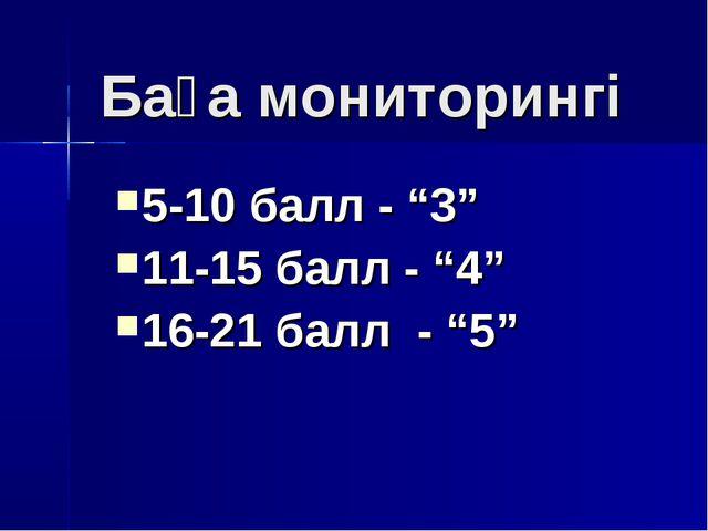 """Баға мониторингі 5-10 балл - """"3"""" 11-15 балл - """"4"""" 16-21 балл - """"5"""""""