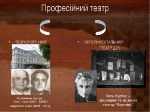 """Професійний театр """"ПСИХОЛОГІЧНИЙ"""" """"ЕКПЕРИМЕНТАЛЬНИЙ"""" (""""ТЕАТР ДІЇ"""") Засновники"""