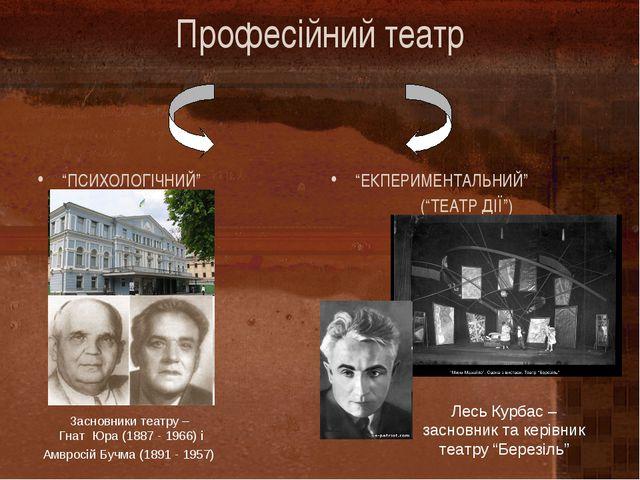 """Професійний театр """"ПСИХОЛОГІЧНИЙ"""" """"ЕКПЕРИМЕНТАЛЬНИЙ"""" (""""ТЕАТР ДІЇ"""") Засновники..."""