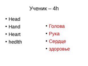 Ученик – 4h Head Hand Heart hedlth Голова Рука Сердце здоровье