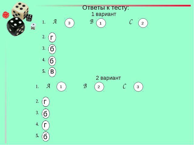 Ответы к тесту: 1 вариант 2 вариант г б б в 3 1 2 1 2 3 г б г б