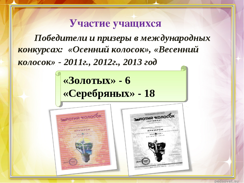 Участие учащихся Победители и призеры в международных конкурсах: «Осенний кол...