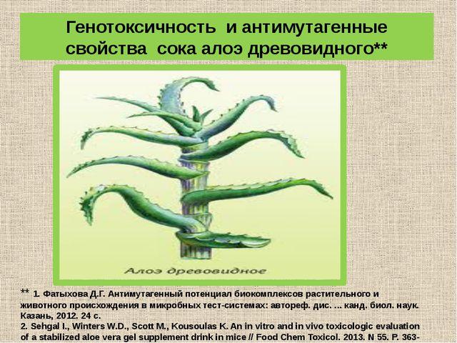 Генотоксичность и антимутагенные свойства сока алоэ древовидного** ** 1. Фаты...