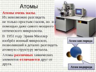 Атомы Атомы очень малы. Ихневозможно разглядеть нетолько простым глазом, но