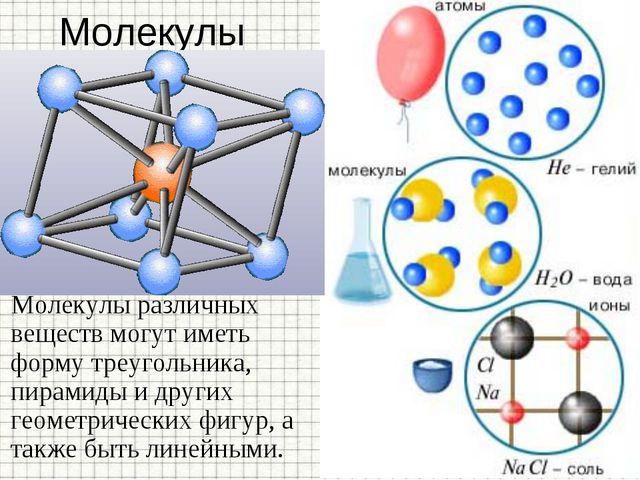 Молекулы У разных веществ молекулы могут состоять из одного атома (инертные г...