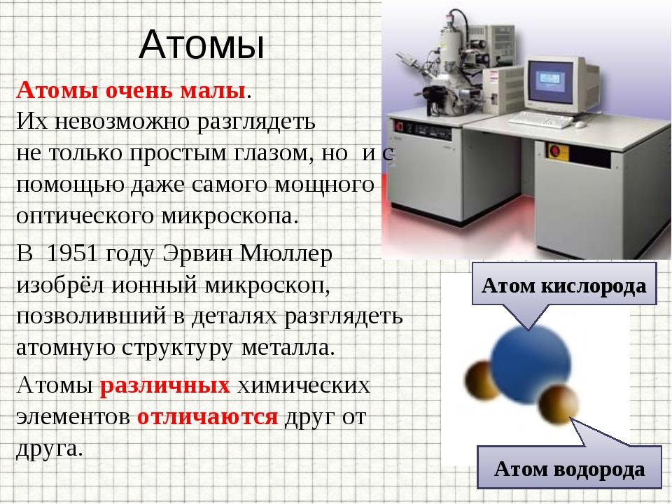 Атомы Атомы очень малы. Ихневозможно разглядеть нетолько простым глазом, но...