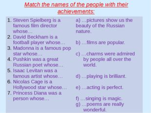 Match the names of the people with their achievements: Steven Spielberg is a