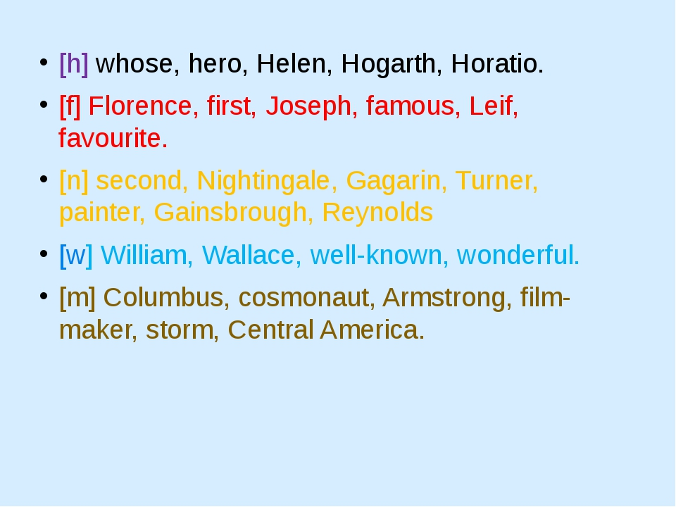[h] whose, hero, Helen, Hogarth, Horatio. [f] Florence, first, Joseph, famous...