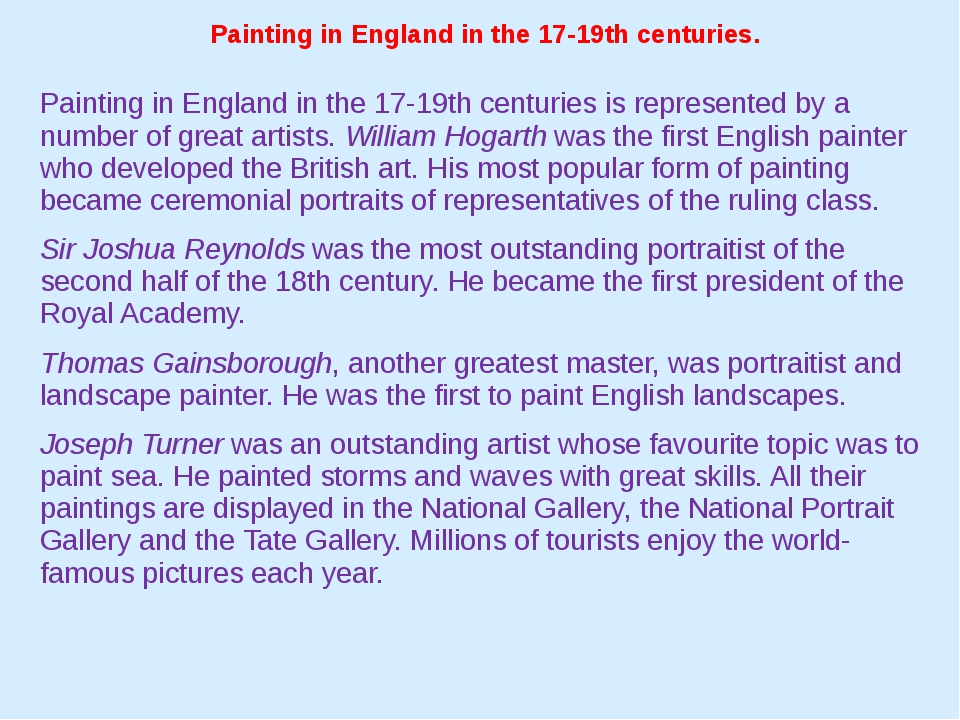Painting in England in the 17-19th centuries. Painting in England in the 17-1...
