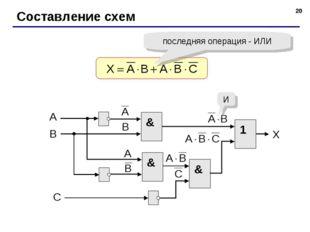 * Составление схем последняя операция - ИЛИ & И