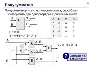 * Полусумматор Полусумматор – это логическая схема, способная складывать два