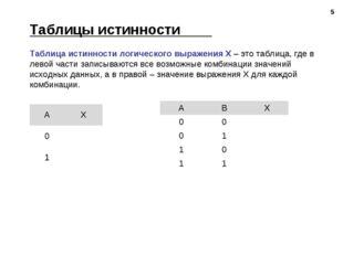 * Таблица истинности логического выражения Х – это таблица, где в левой части