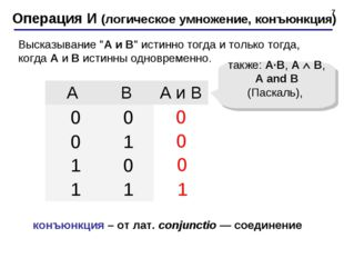 * Операция И (логическое умножение, конъюнкция) 1 0 также: A·B, A  B, A and