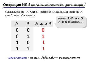 * Операция ИЛИ (логическое сложение, дизъюнкция) 1 0 также: A+B, A  B, A or