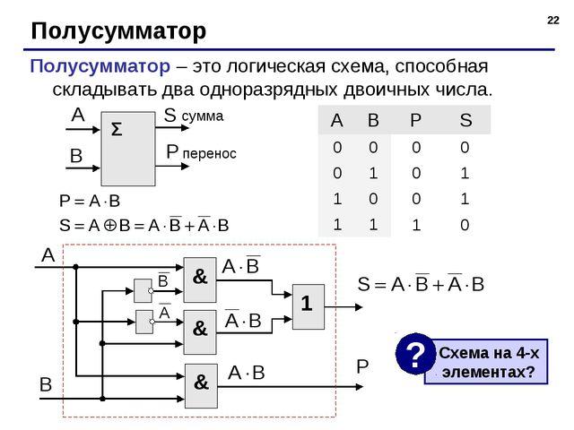 * Полусумматор Полусумматор – это логическая схема, способная складывать два...