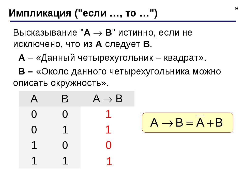 """* Импликация (""""если …, то …"""") Высказывание """"A  B"""" истинно, если не исключено..."""