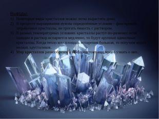 Выводы: Некоторые виды кристаллов можно легко вырастить дома. В процессе вы
