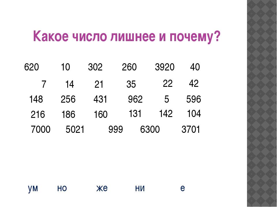 Какое число лишнее и почему? 256 10 302 260 3920 40 14 7 5021 42 21 35 22 14...