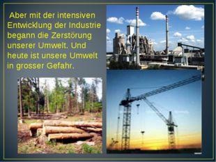 Aber mit der intensiven Entwicklung der Industrie begann die Zerstörung unse