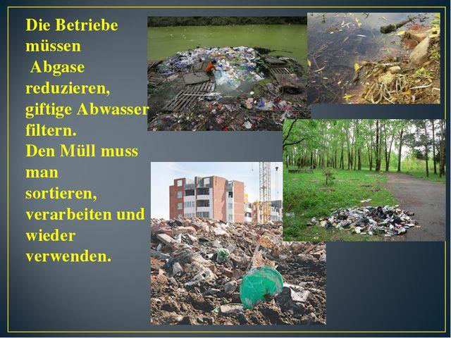 Die Betriebe müssen Abgase reduzieren, giftige Abwasser filtern. Den Müll mus...