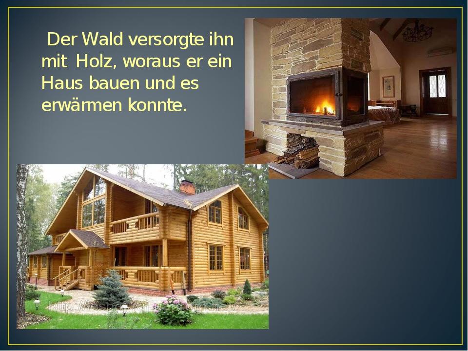 Der Wald versorgte ihn mit Holz, woraus er ein Haus bauen und es erwärmen ko...
