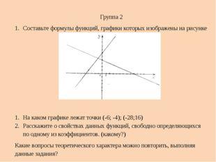 Группа 2 Составьте формулы функций, графики которых изображены на рисунке  Н