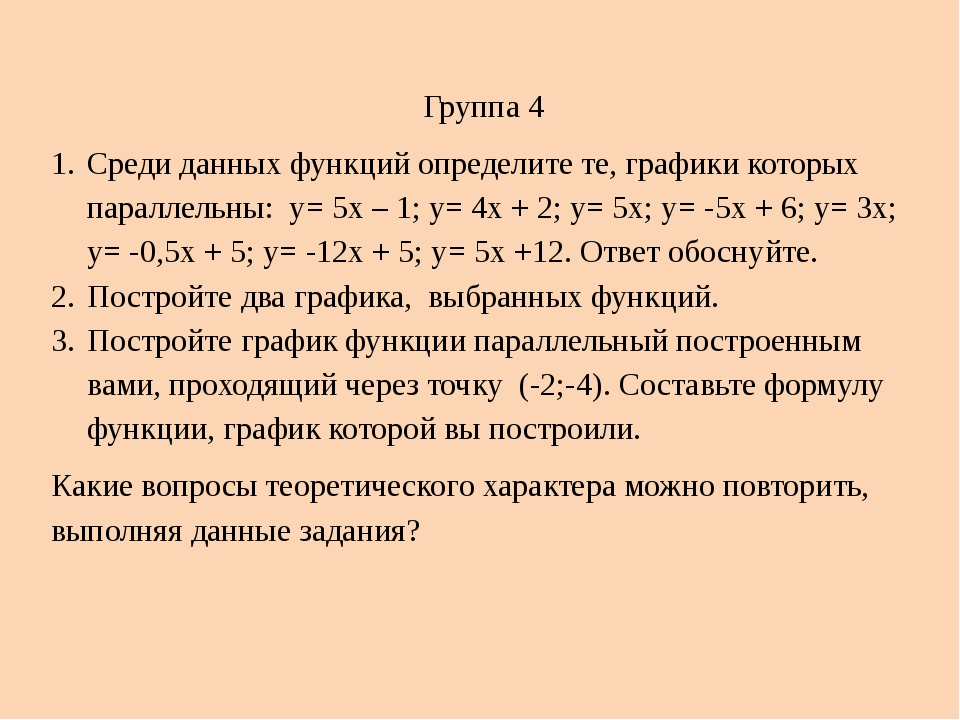 Группа 4 Среди данных функций определите те, графики которых параллельны: у=...