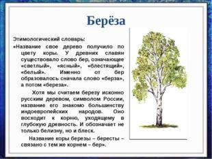 Берёза Этимологический словарь: «Название свое дерево получило по цвету коры.