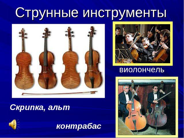 Струнные инструменты Скрипка, альт виолончель контрабас