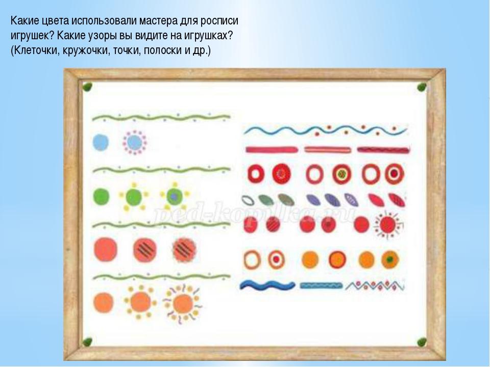 Какие цвета использовали мастера для росписи игрушек? Какие узоры вы видите...
