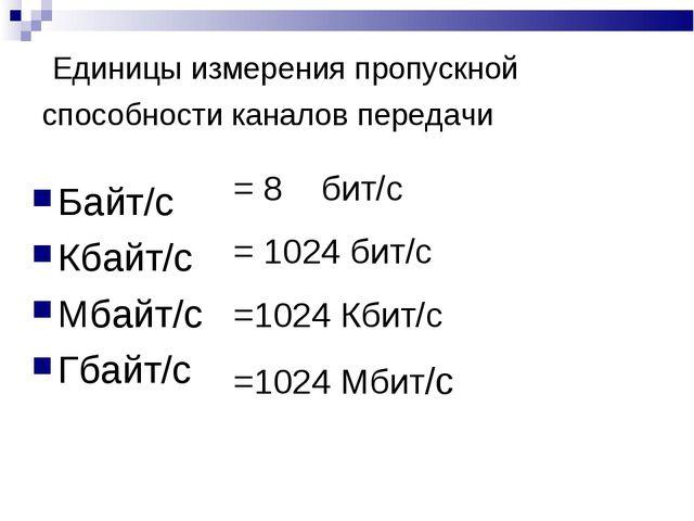 Единицы измерения пропускной способности каналов передачи Байт/с Кбайт/с Мба...