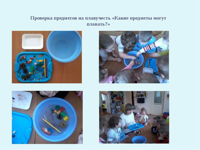 Проверка предметов на плавучесть «Какие предметы могут плавать?»