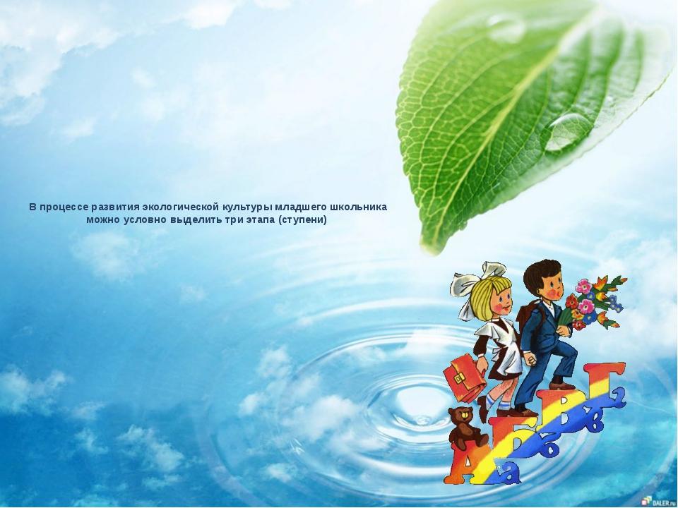 В процессе развития экологической культуры младшего школьника можно условно в...