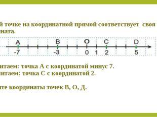 Каждой точке на координатной прямой соответствует своя координата. А(-7) чит