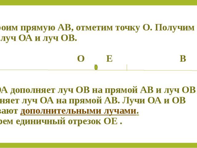 Построим прямую АВ, отметим точку О. Получим два луча: луч ОА и луч ОВ. А О...